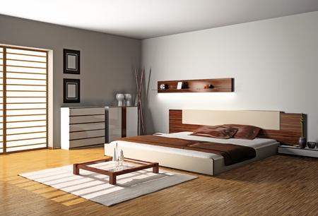 Modernes Interieur aus einem Schlafzimmer Zimmer 3D Standard-Bild - 8711993