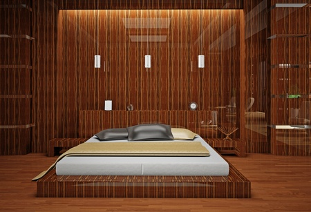 Modern interior of a bedroom room 3D Stock Photo - 8712036