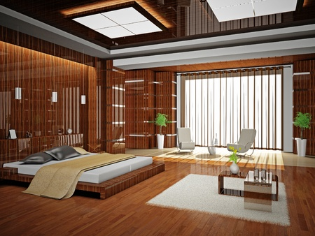 Modern inter of a bedroom room 3D Stock Photo - 8712038