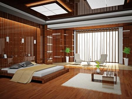 Modern interior of a bedroom room 3D