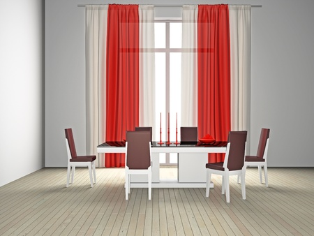 modern room with a dining zone 3D Stock Photo - 8711995