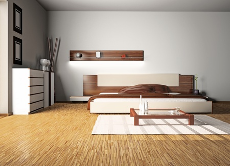 Modern interior of a bedroom room 3D Stock Photo - 8782480