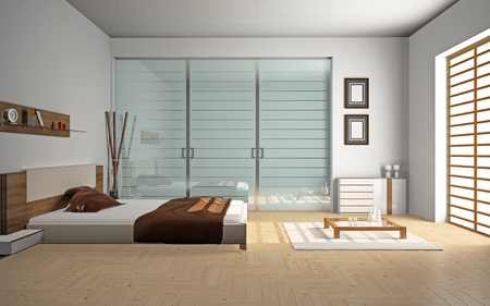 Modern interior of a bedroom room 3D photo
