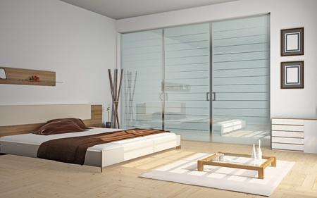 Modern inter of a bedroom room 3D Stock Photo - 8782508