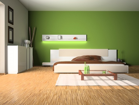 Modern interior of a bedroom room 3D Stock Photo - 8906352