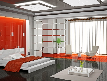Modern interior of a bedroom room 3D Stock Photo - 8906369
