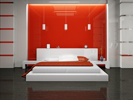 Modern interior of a bedroom room 3D Stock Photo - 8906373