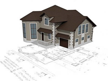 modular home: The house 3D image on a background the plan Stock Photo