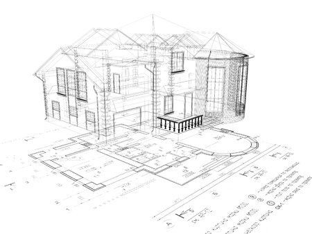 architectural exterior: The house 3D image on a background the plan Stock Photo