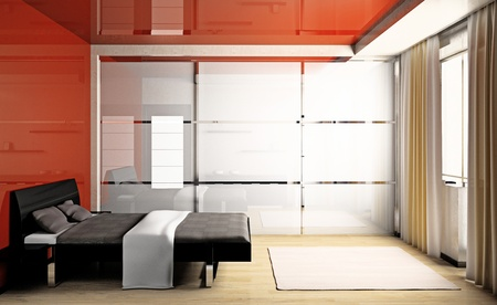 Modern interior of a bedroom room 3D Stock Photo - 9029305