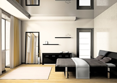 bedrooms: Modern interior of a bedroom room 3D
