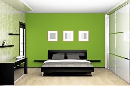 chambre � � coucher: Int?rieur moderne d'une chambre ? coucher en 3D