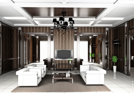 decor residential: Modern interior of a living room  3D