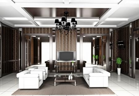 Modernes Interieur aus einem Wohnzimmer 3D Standard-Bild - 9134254