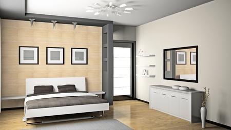Modernes Interieur aus einem Schlafzimmer Zimmer 3D Standard-Bild - 9134202