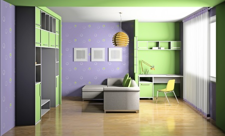 Modern interior of a childrens room 3D