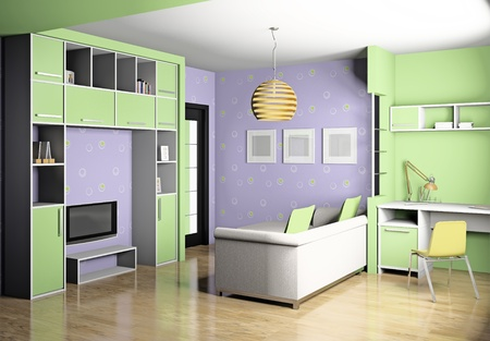 Modern interior of a childrens room 3D photo