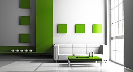 modern sofa  in the light  room 3D Stock Photo