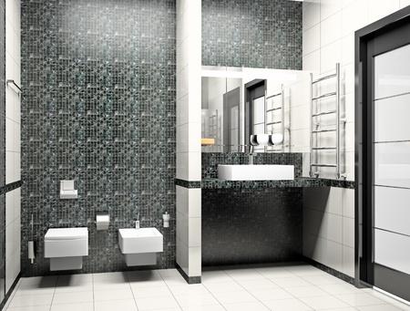 bad: Art der modernen Innenansicht des Badezimmers 3D Lizenzfreie Bilder