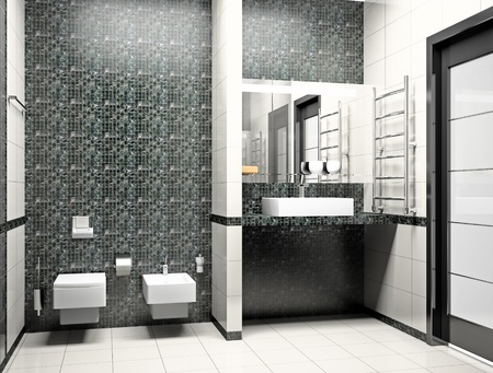 Kind of a modern interior of a bathroom 3D photo