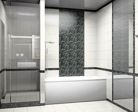 Kind of a modern interior of a bathroom 3D Stock Photo - 9234422