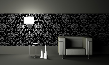 modern  armchair  in the  room (3d) photo