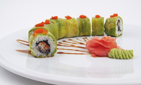 sushi roll: Photo of a rolled and sushi