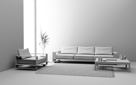 Modern interior of a living room  3D Stock Photo - 9281288