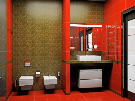 Modern interior of a 3D bathroom  photo