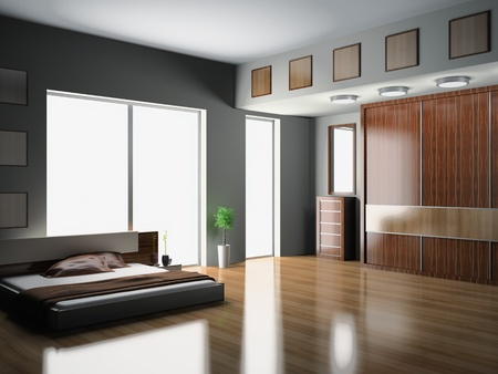 Modern interior of a bedroom room 3D Stock Photo - 9449775