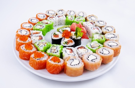 Photo of a rolled and sushi