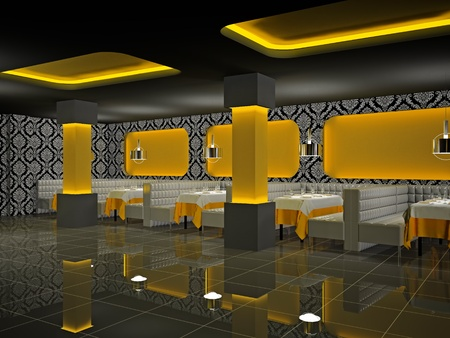 Modern interior of cafe 3D