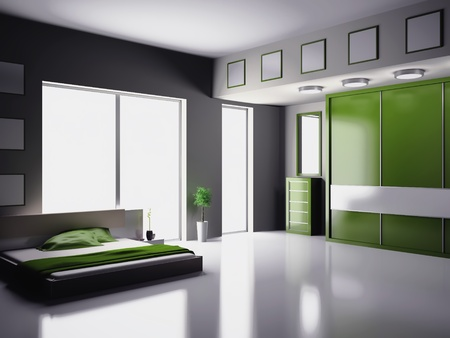 Modern interior of a bedroom room 3D Stock Photo - 9573200