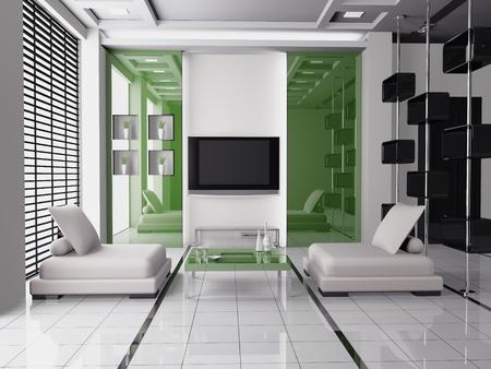 Modern inter of a living room  3D Stock Photo - 9573207