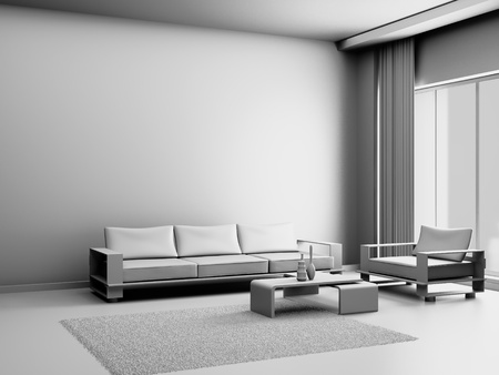 Modern interior of a living room  3D Stock Photo - 9573205
