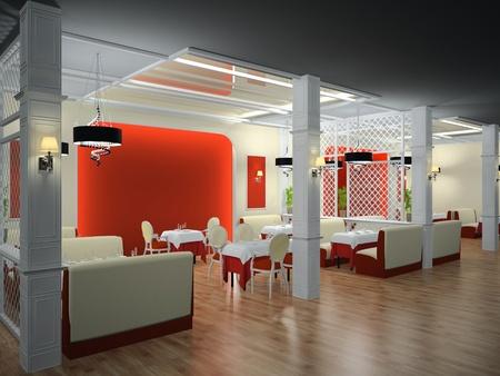 bar stool: Classical interior of restaurant 3D