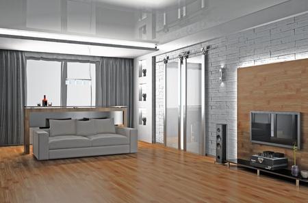 Modernes Interieur aus einem Wohnzimmer 3D Standard-Bild - 9945152