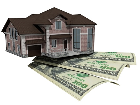 mortgaging: House with money over white background - mortgaging concept