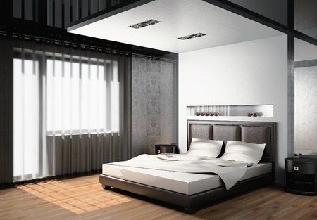 pattern bed: Modern interior of a bedroom room 3D