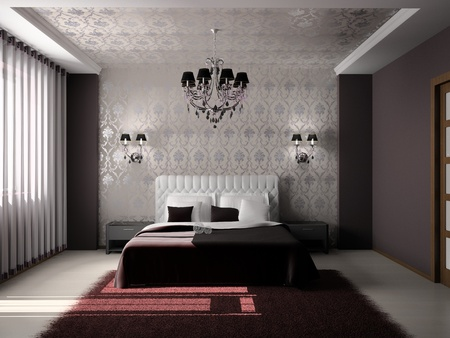 luxury hotel room: Modern interior of a bedroom room 3D