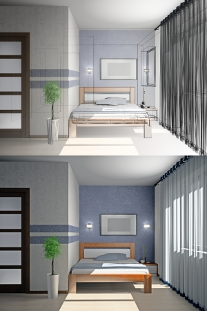 Modern interior of a bedroom room 3D Stock Photo - 23000614