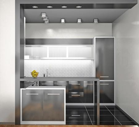 Interior of modern kitchen (3D) photo