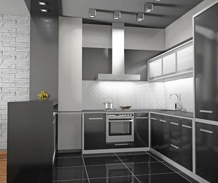modern kitchen: Interior of modern kitchen (3D) Stock Photo