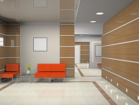 modern office space: Hall a modern office (3D) Stock Photo