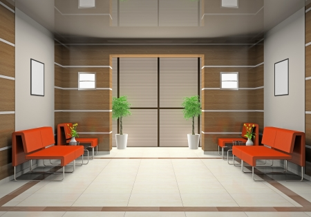 interior design office: Hall a modern office (3D) Stock Photo
