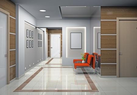 steel floor: Hall a modern office (3D) Stock Photo