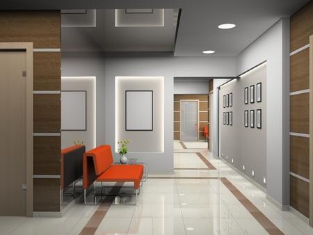 Hall a modern office (3D) Фото со стока
