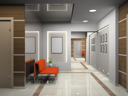 office interior design: Hall a modern office (3D) Stock Photo