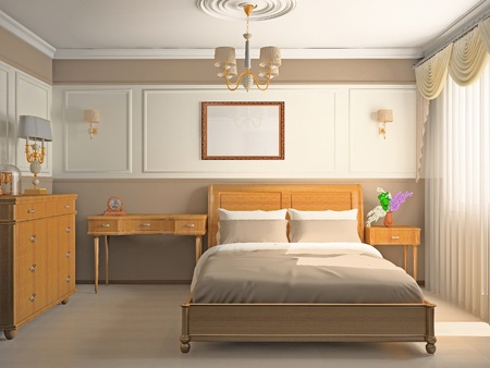 chambre à coucher: Intérieur moderne d'une chambre à coucher en 3D