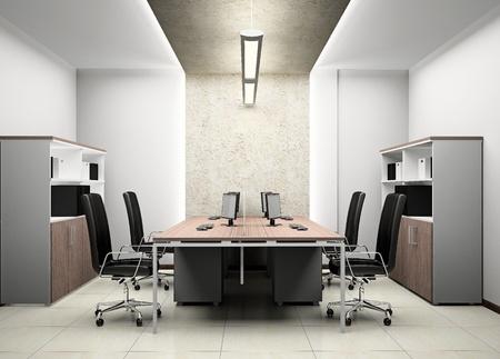 mobiliario de oficina: Interior de la oficina moderna en 3D
